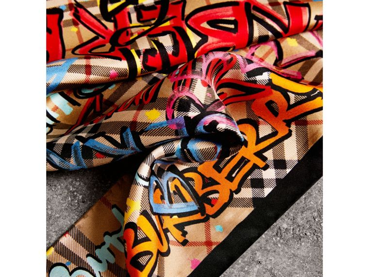Graffiti Print Vintage Check Silk Scarf in Antique Yellow - Women | Burberry Singapore - cell image 1