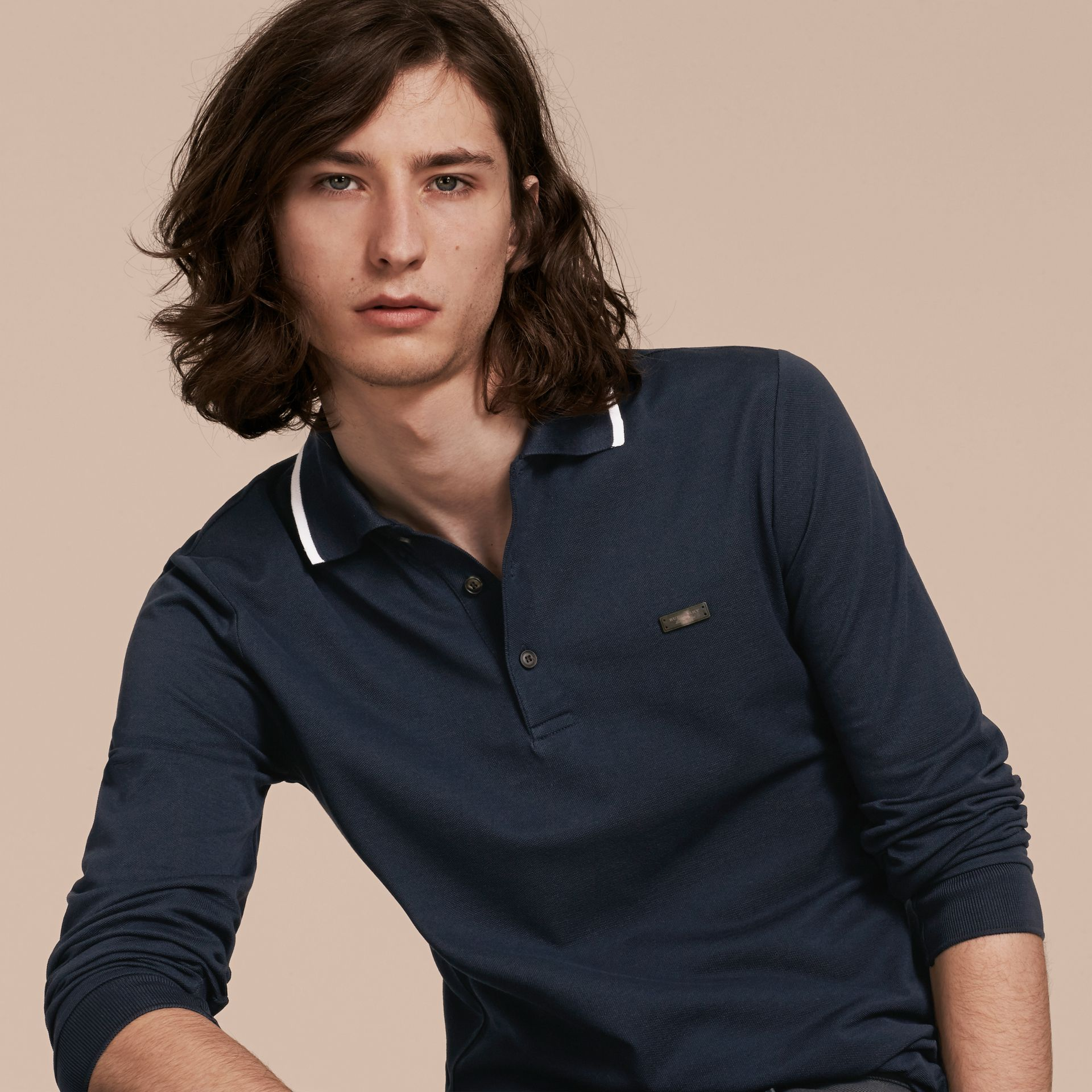 Long-sleeved Tipped Cotton Piqué Polo Shirt Navy - gallery image 6