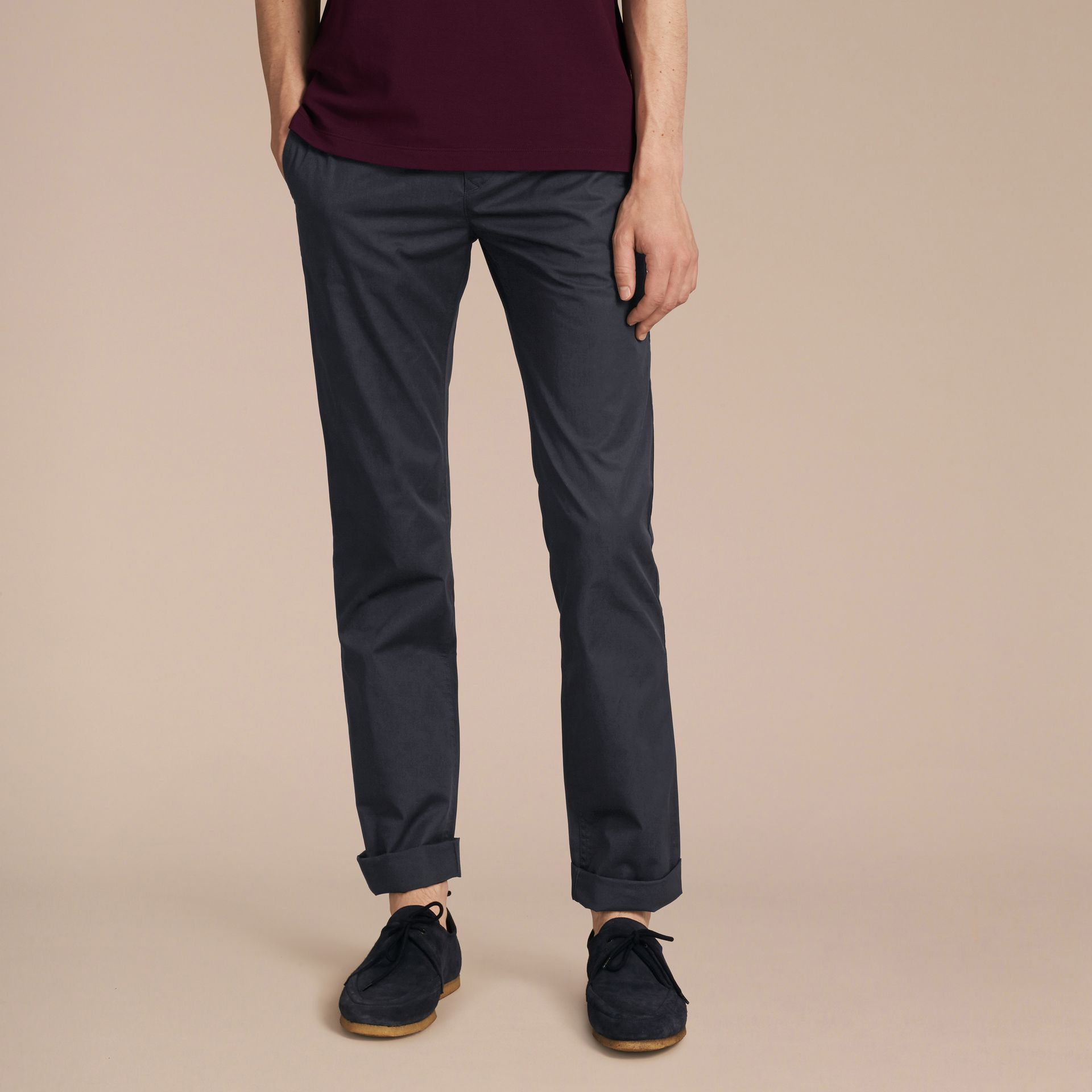 Straight Fit Cotton Chinos in Ink - Men | Burberry - gallery image 7