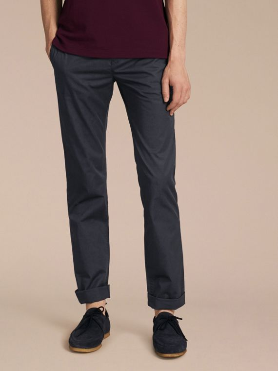 Straight Fit Cotton Chinos in Ink - Men | Burberry Australia