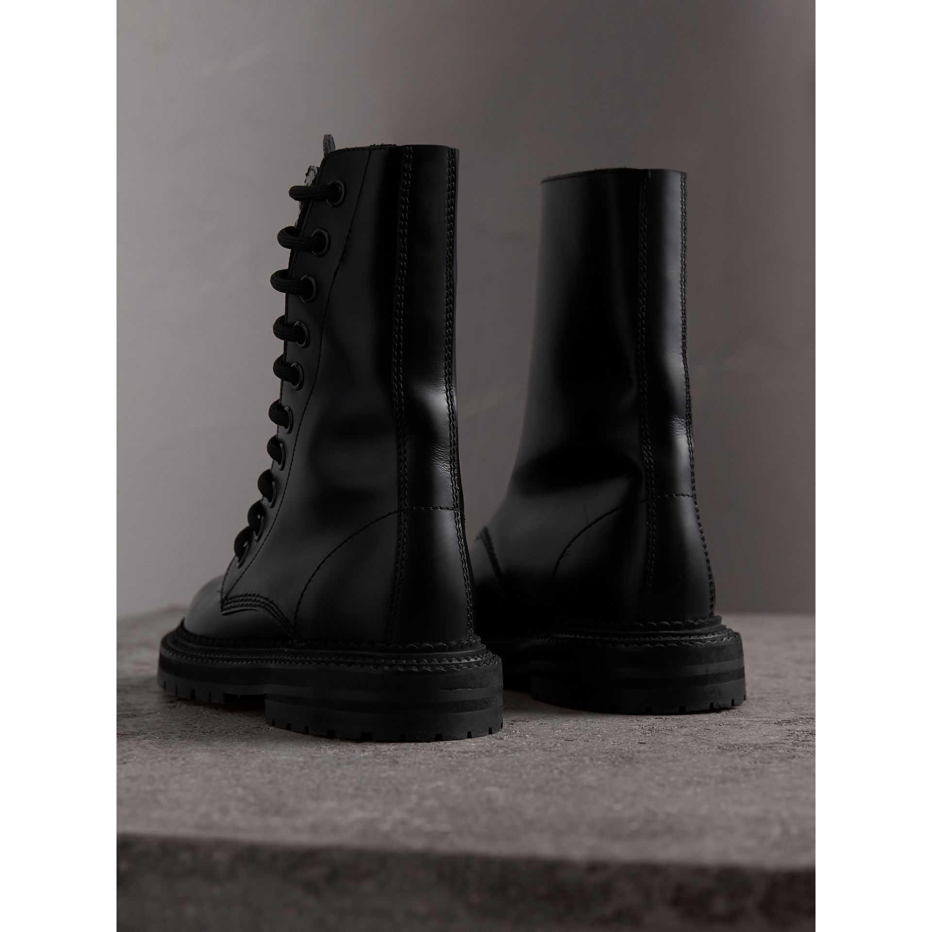 Leather Asymmetric Lace-up Boots in Black - Women | Burberry - gallery image 3