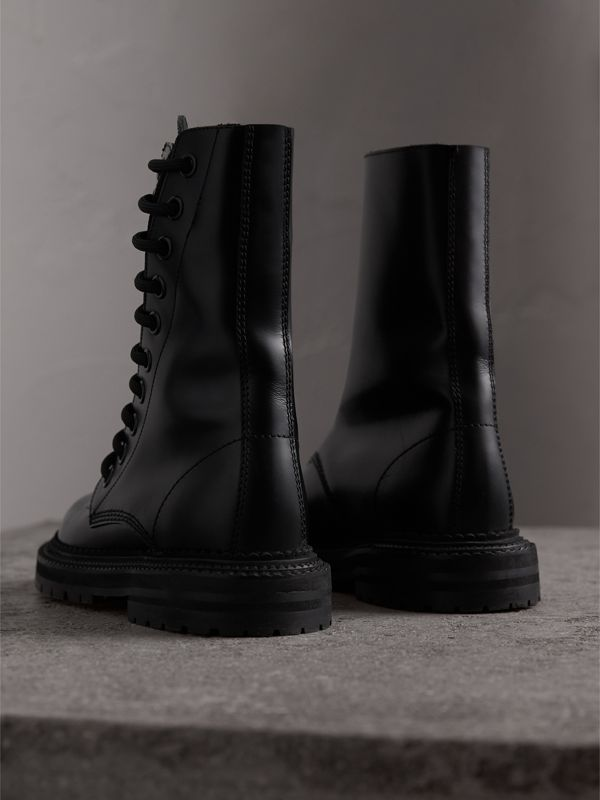 Leather Asymmetric Lace-up Boots in Black - Women | Burberry - cell image 3