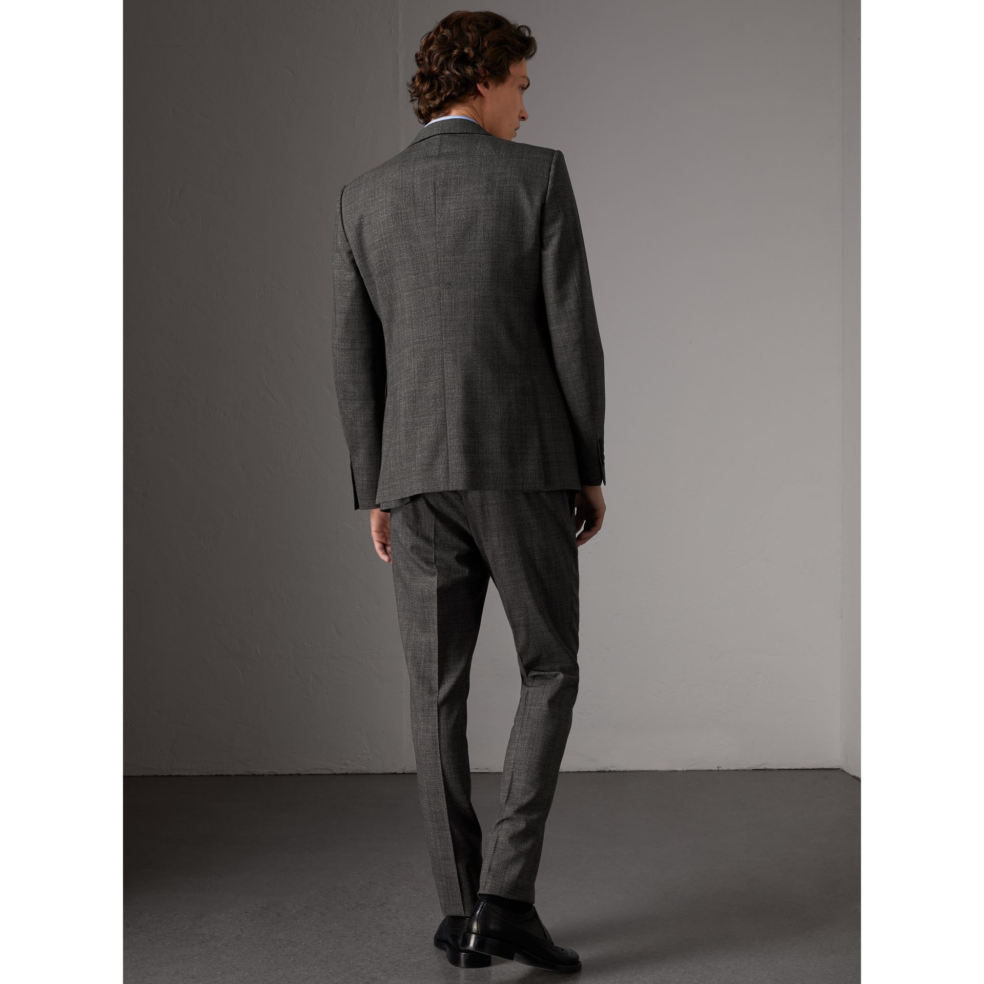 Slim Fit Wool Three-piece Suit in Dark Grey Melange - Men | Burberry Singapore - gallery image 3