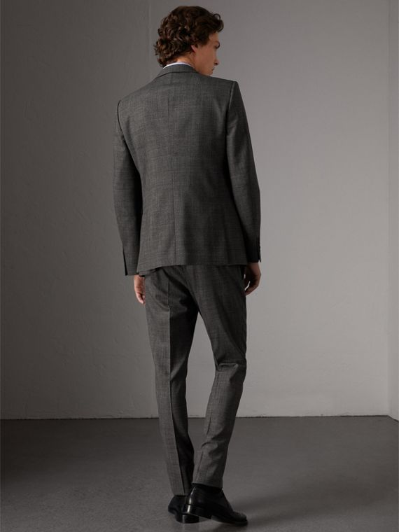 Slim Fit Wool Three-piece Suit in Dark Grey Melange - Men | Burberry Singapore - cell image 2