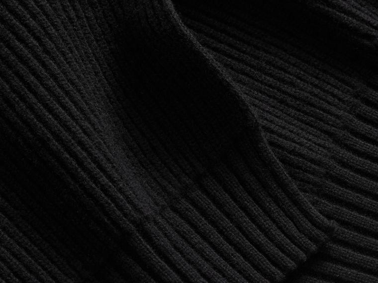 One-shoulder Rib Knit Wool Cashmere Sweater in Black - Women | Burberry Singapore - cell image 1