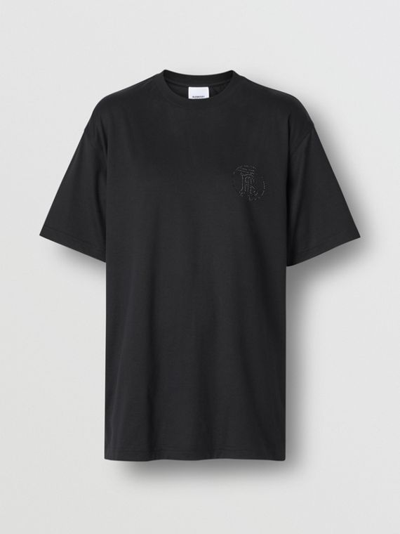 Crystal Monogram Motif Cotton Oversized T-shirt in Black