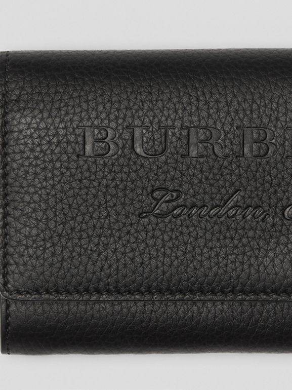 Embossed Leather Continental Wallet in Black - Women | Burberry - cell image 1