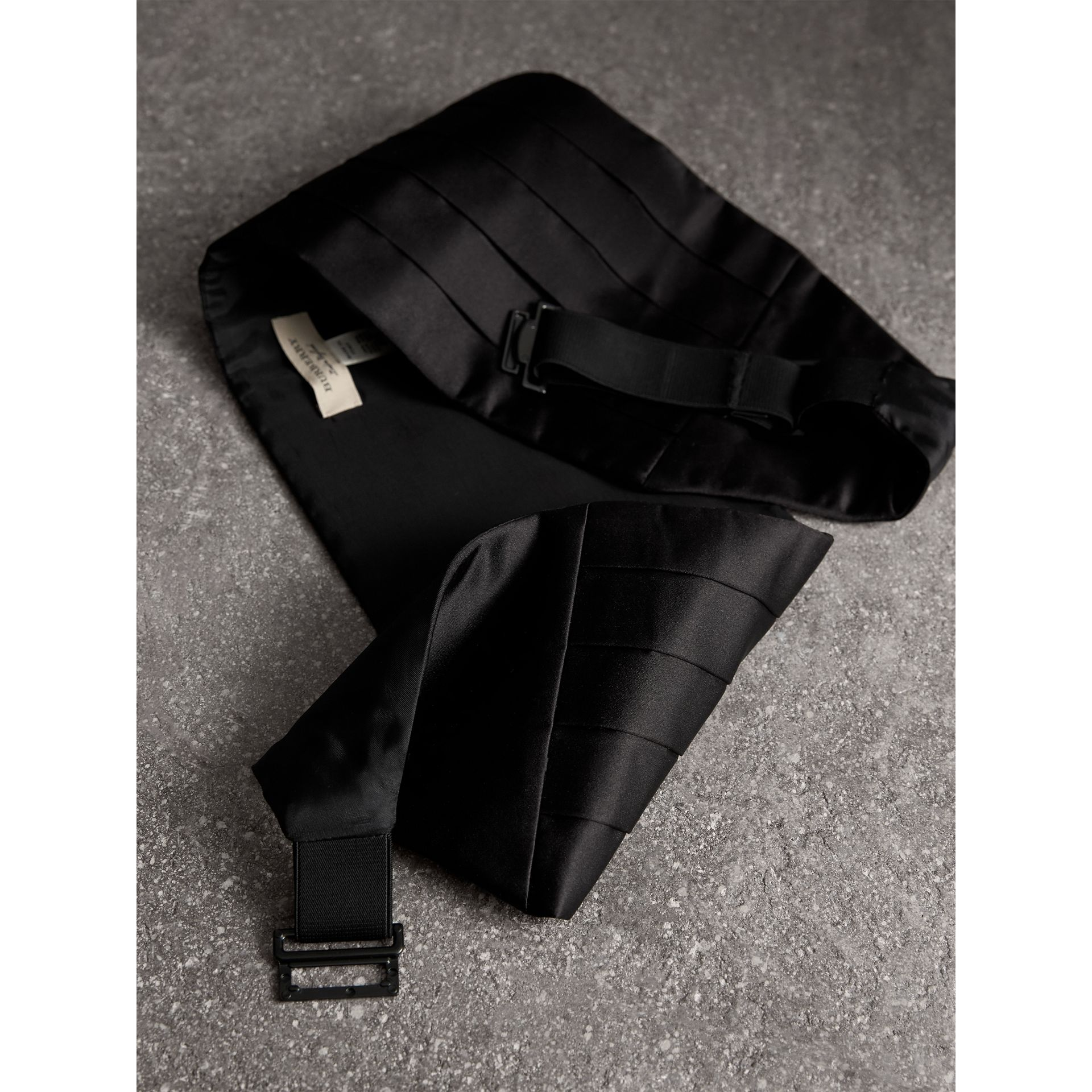 Pleated Silk Cummerbund in Black - Men | Burberry - gallery image 4