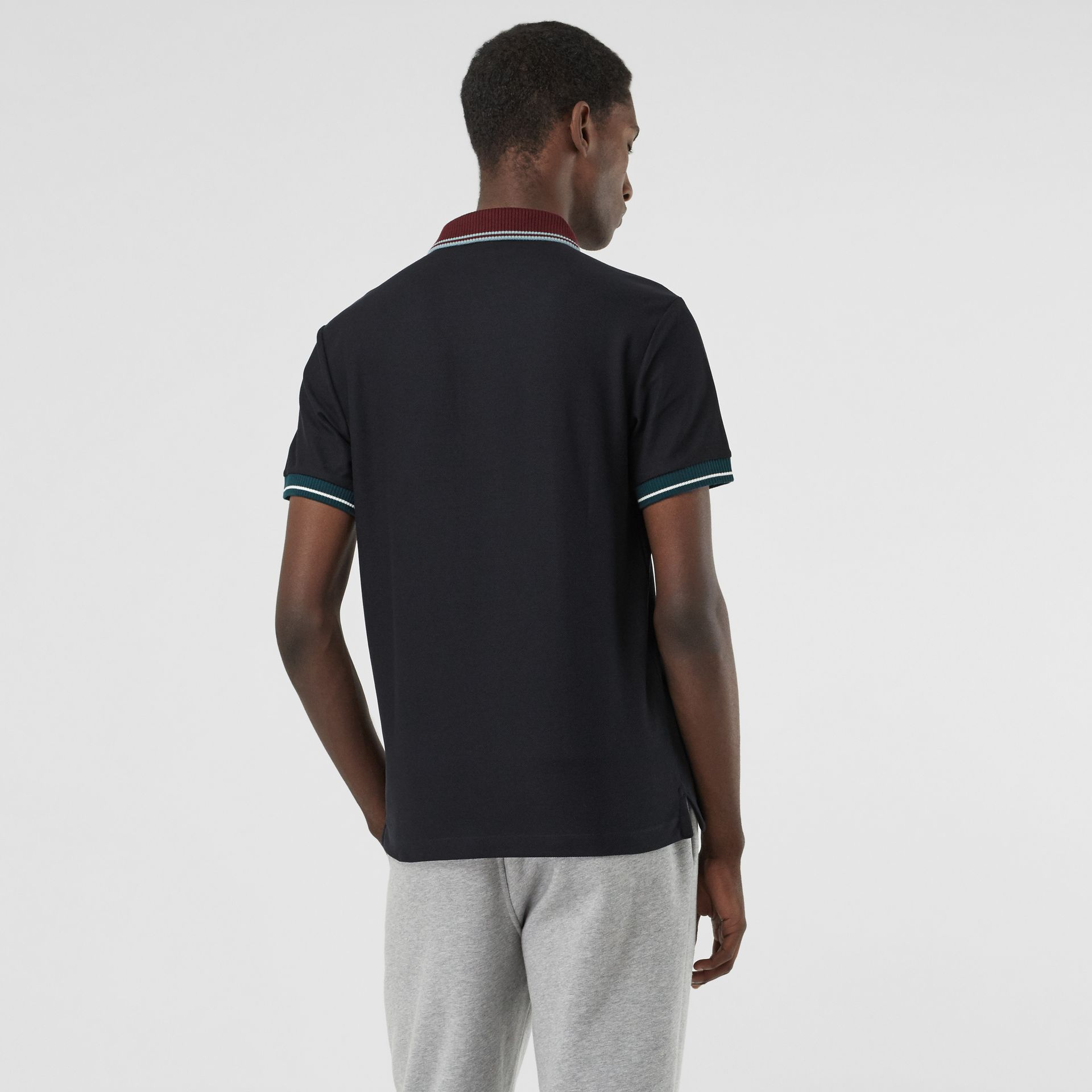 Tipped Cotton Piqué Polo Shirt in Dark Navy - Men | Burberry Canada - gallery image 2