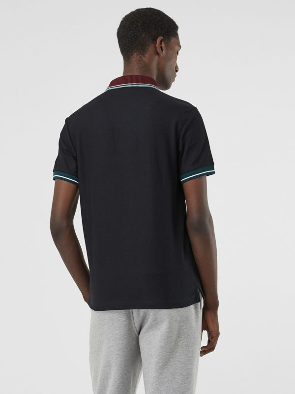 Tipped Cotton Piqué Polo Shirt in Dark Navy - Men | Burberry United States - cell image 2