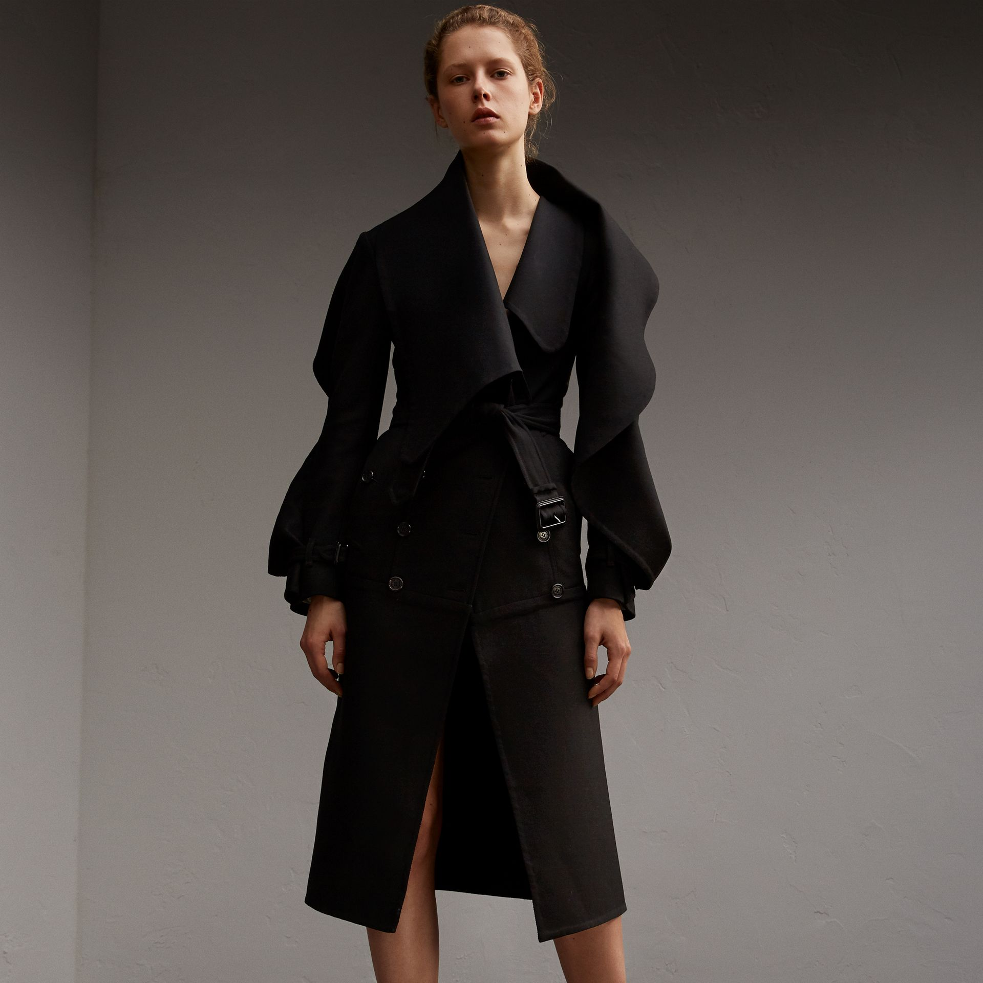 Lightweight Double-faced Wool Twill Asymmetric Coat - Women | Burberry - gallery image 1