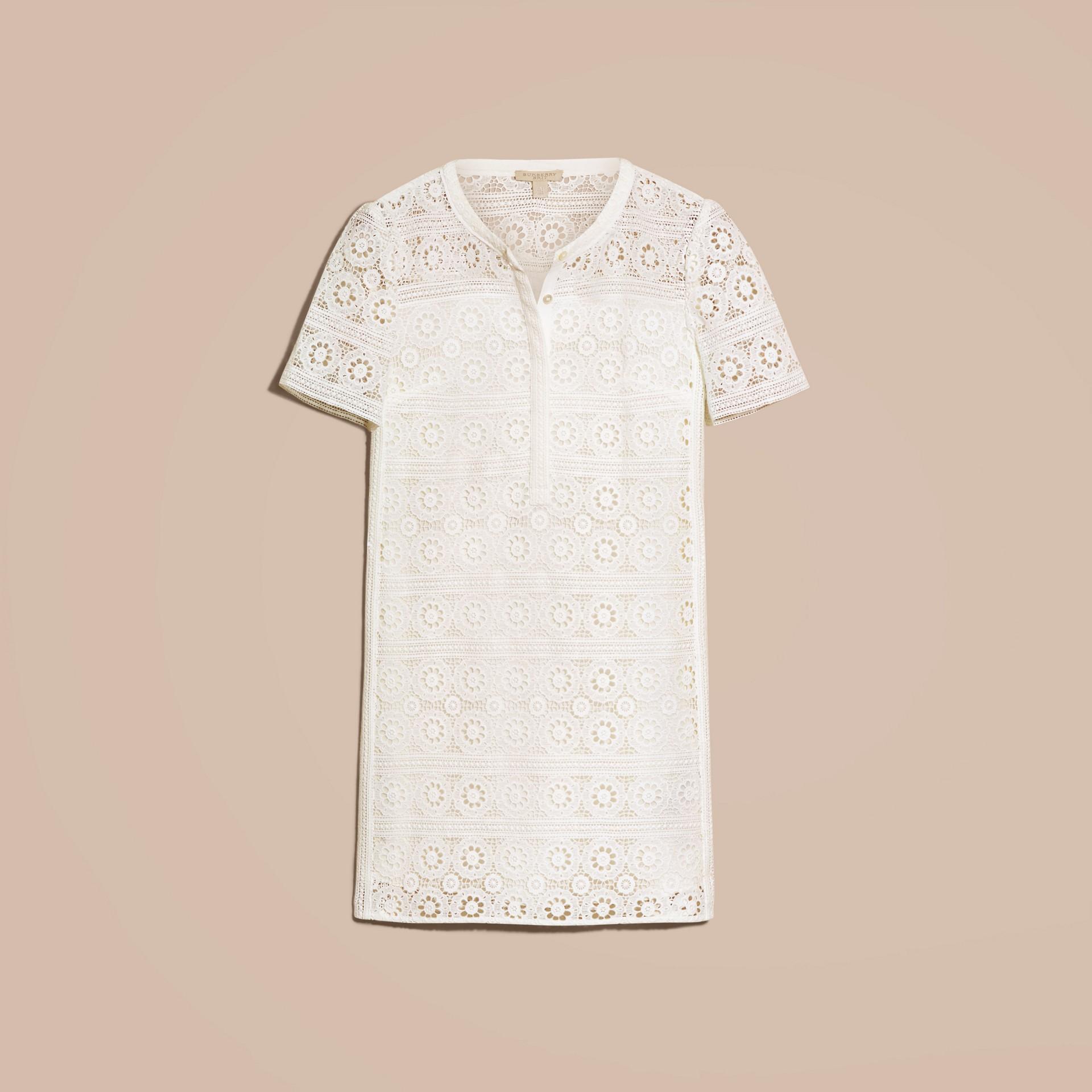 Branco natural Vestido camisa de renda de algodão - galeria de imagens 4