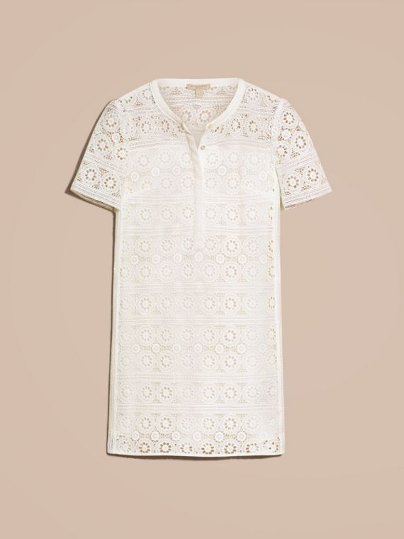 Natural white Cotton Lace Shirt Dress - cell image 3