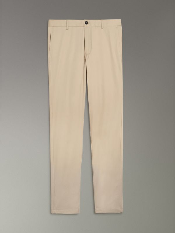Slim Fit Cotton Chinos in Stone - Men | Burberry - cell image 3