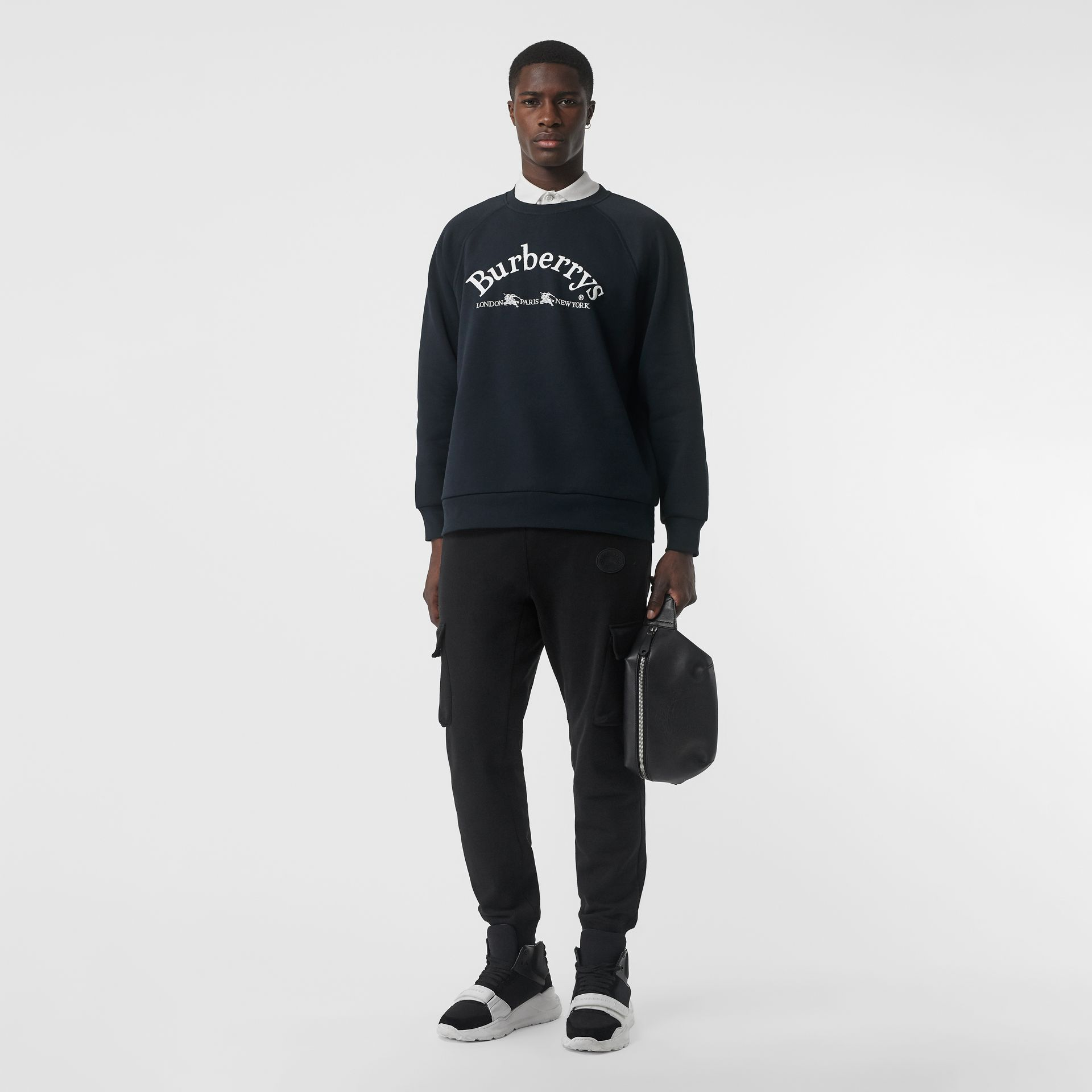 Embroidered Archive Logo Jersey Sweatshirt in Navy - Men | Burberry - gallery image 0