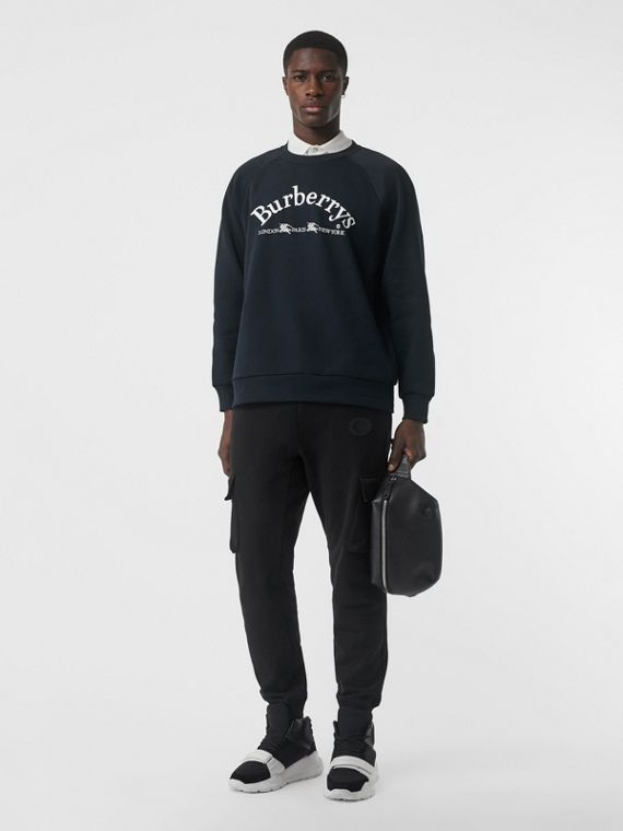 Embroidered Archive Logo Jersey Sweatshirt in Navy