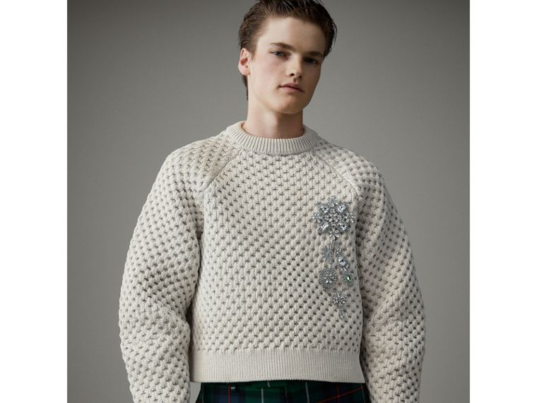 Honeycomb-stitch Cropped Sculptural Sweater in Chalk Grey - Men | Burberry - cell image 4