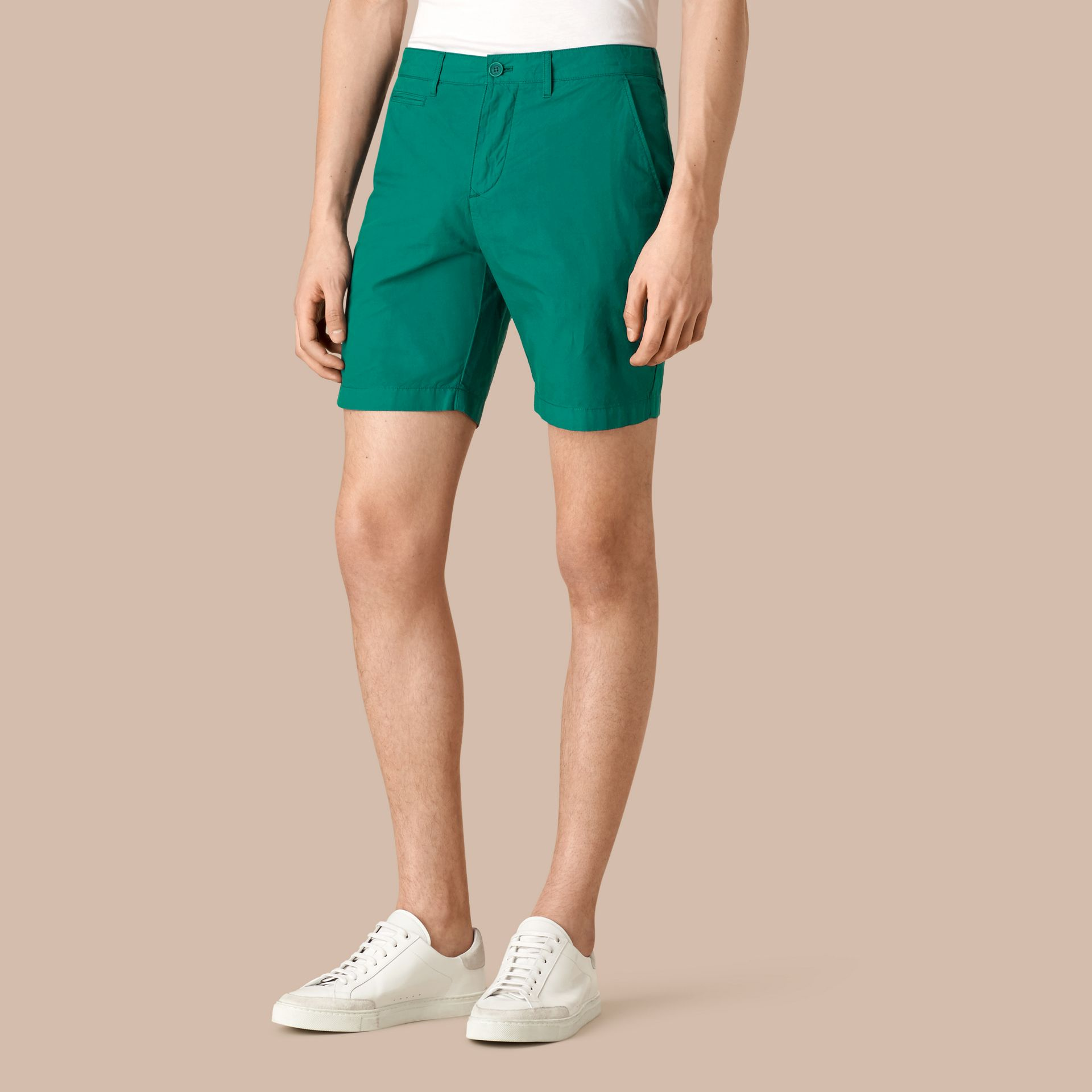 Deep viridian green Cotton Poplin Chino Shorts Deep Viridian Green - gallery image 1