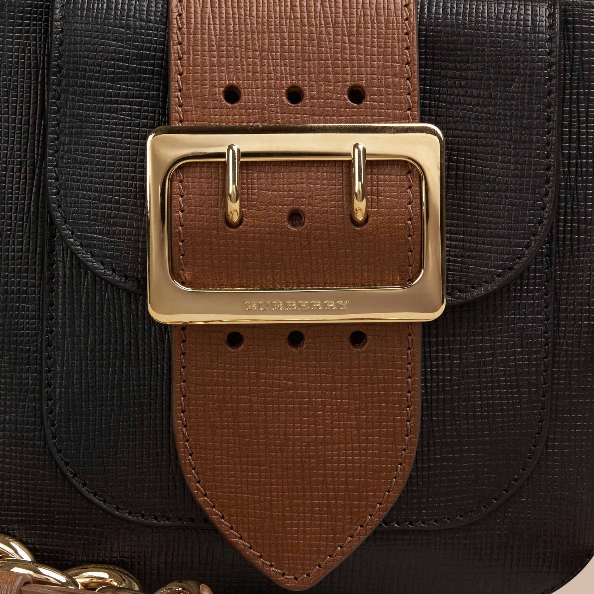 Black The Small Square Buckle Bag in Leather - gallery image 2