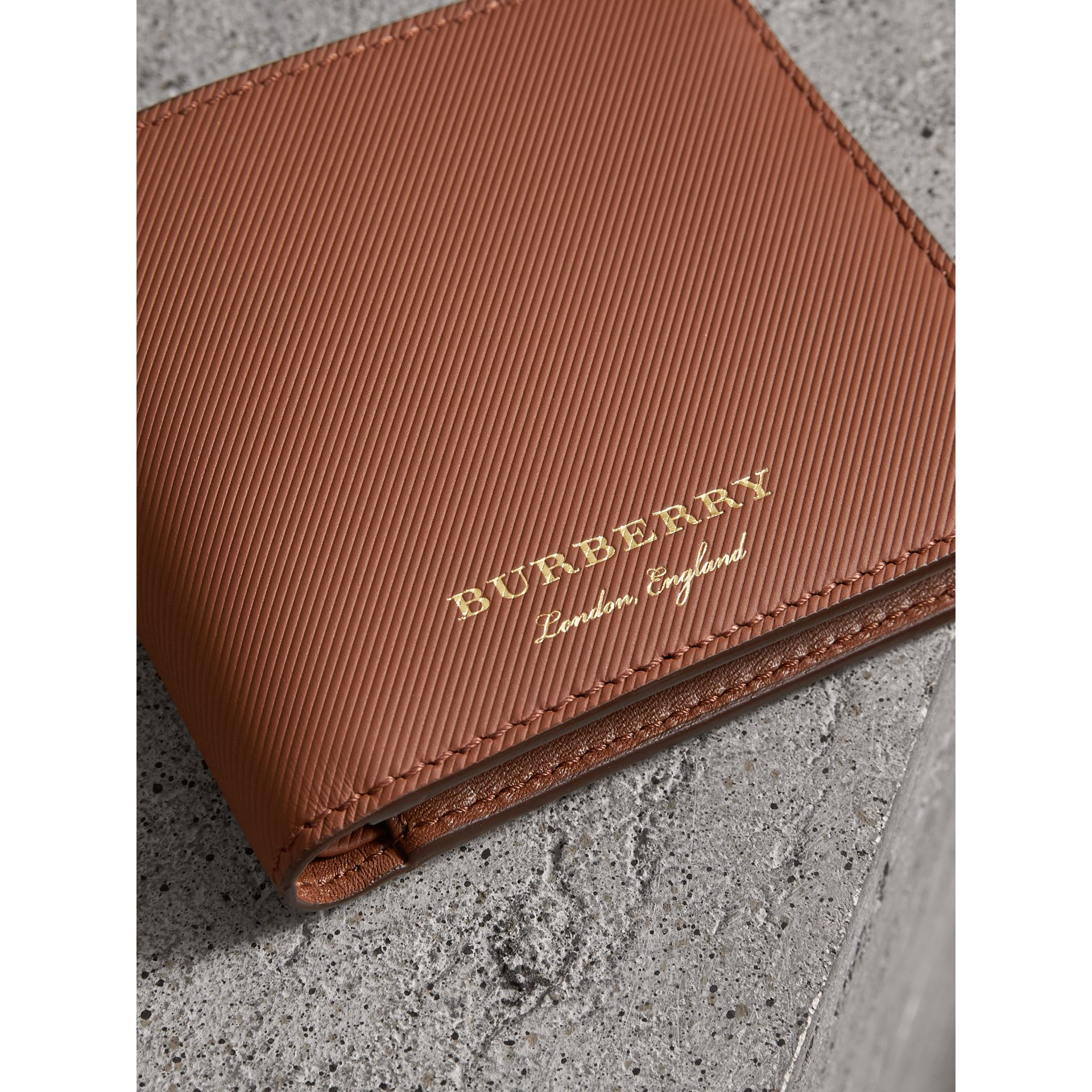 Trench Leather Bifold Wallet with Removable Card Case in Tan - Men | Burberry - gallery image 1