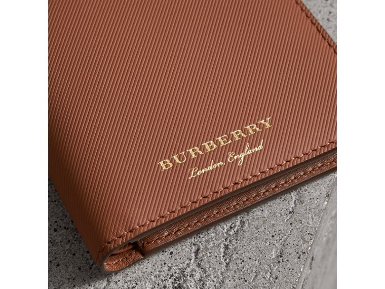 Trench Leather Bifold Wallet with Removable Card Case in Tan - Men | Burberry - cell image 1