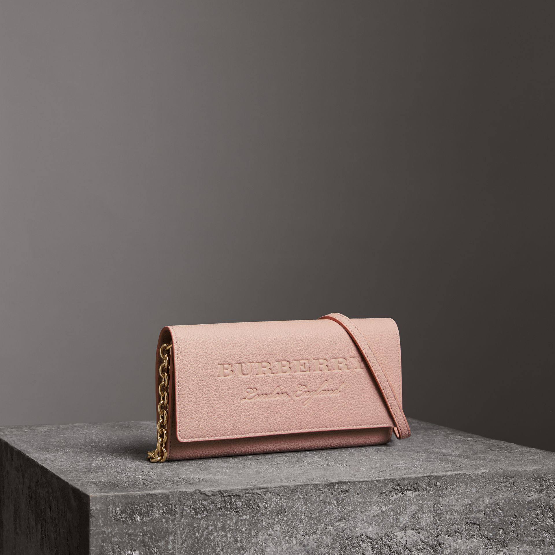 Embossed Leather Wallet with Chain in Pale Ash Rose - Women | Burberry - gallery image 0