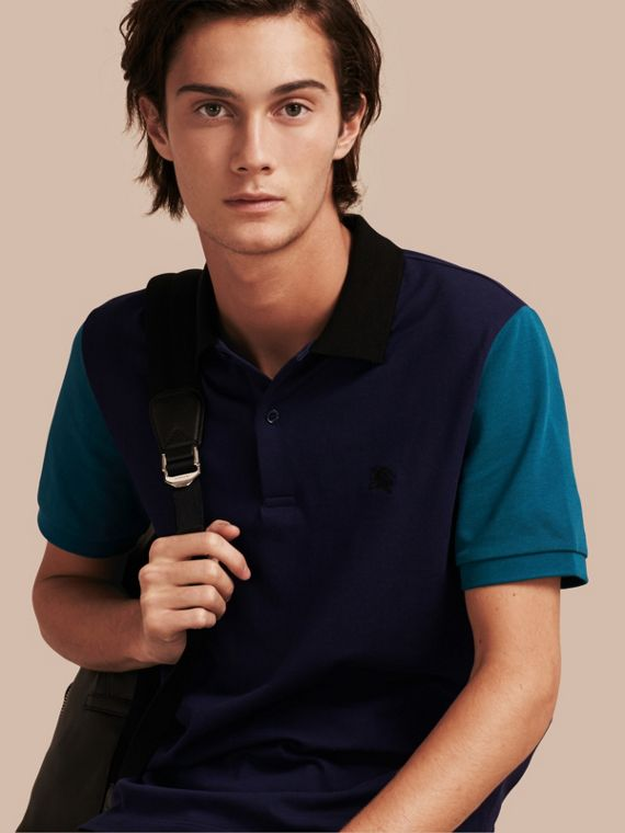 Colour-block Cotton Piqué Polo Shirt Indigo
