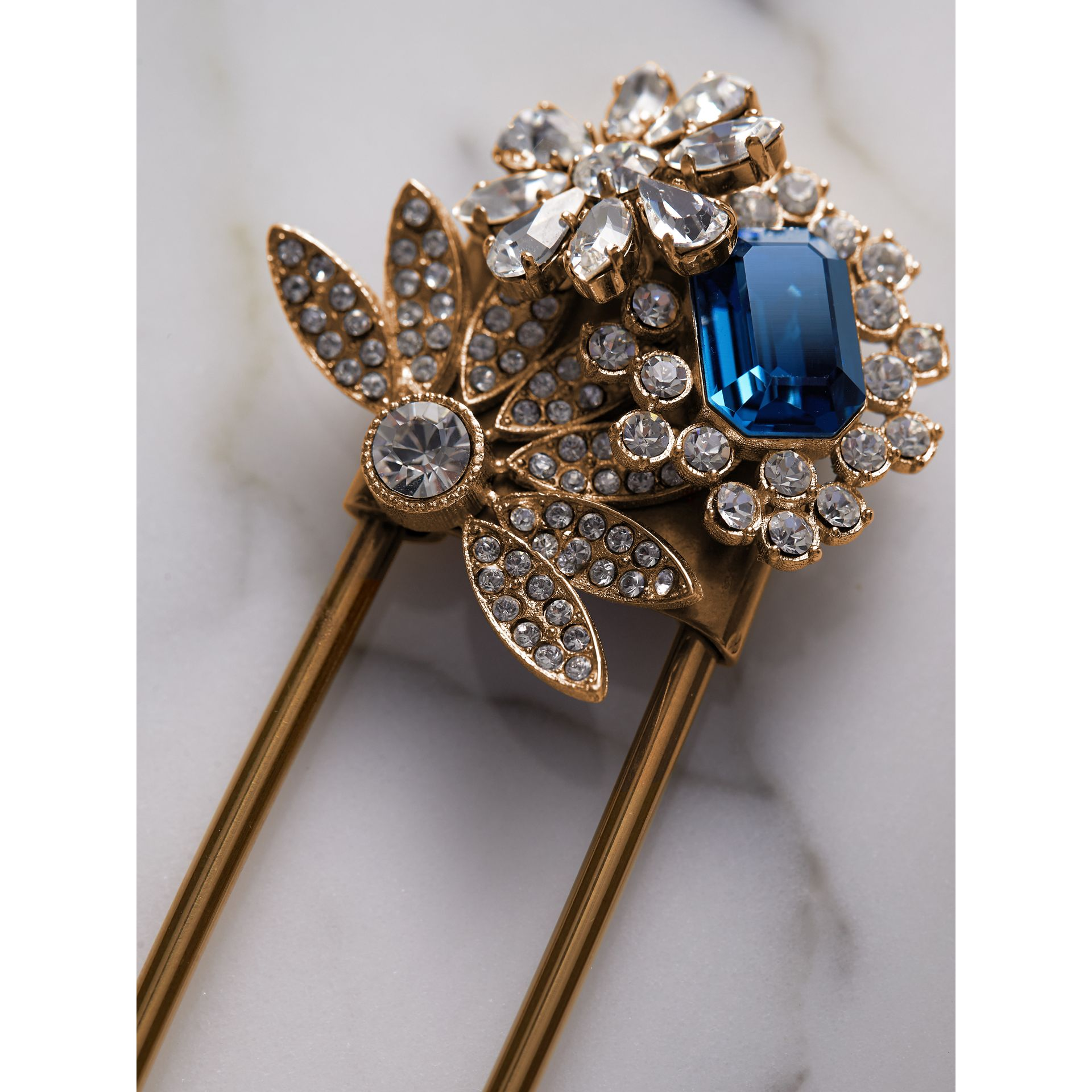 Crystal and Brass Oversized Pin in Blue | Burberry - gallery image 1