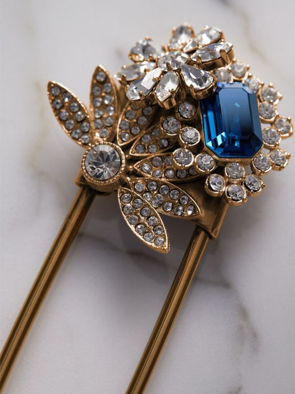 Crystal and Brass Oversized Pin in Blue | Burberry - cell image 1
