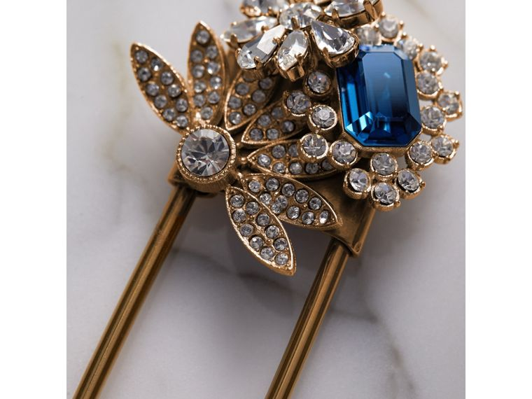 Crystal and Brass Oversized Pin in Blue | Burberry United Kingdom - cell image 1