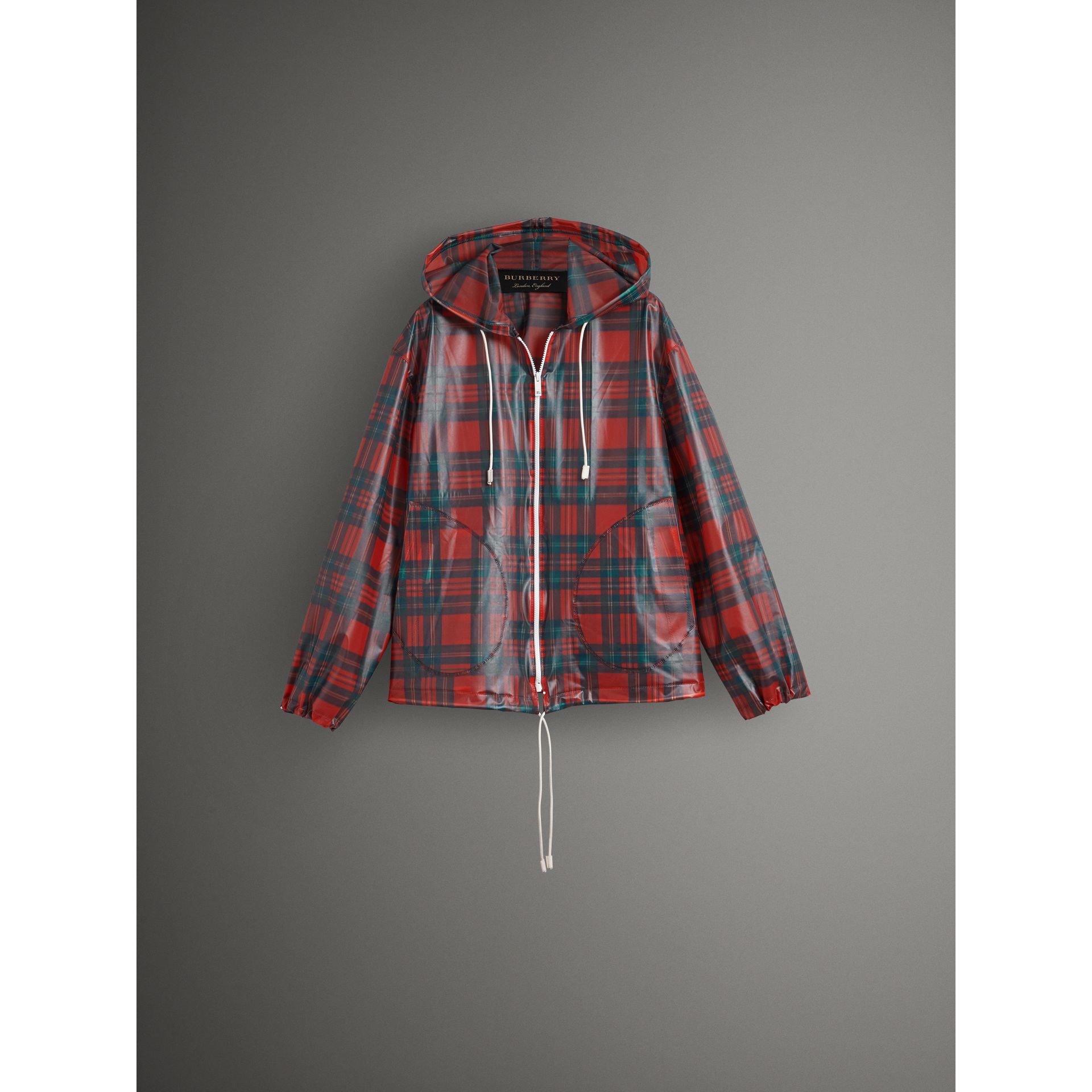 Tartan Soft-touch Plastic Cagoule in Bright Red - Men | Burberry - gallery image 3