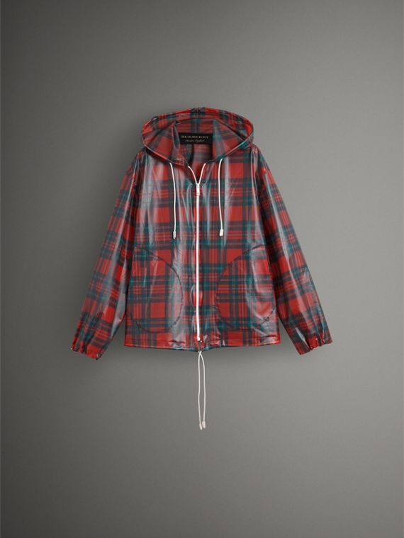 Tartan Soft-touch Plastic Cagoule in Bright Red