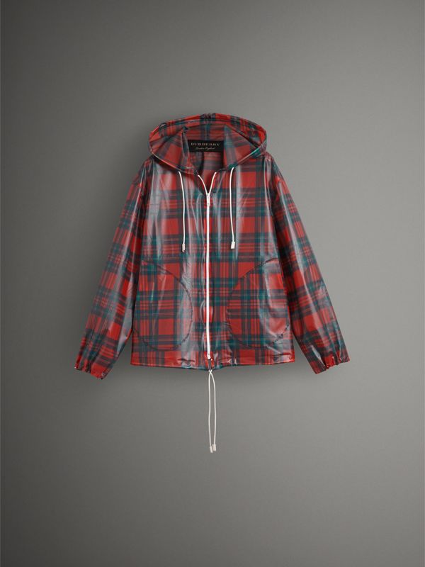 Tartan Soft-touch Plastic Cagoule in Bright Red - Men | Burberry United Kingdom - cell image 3