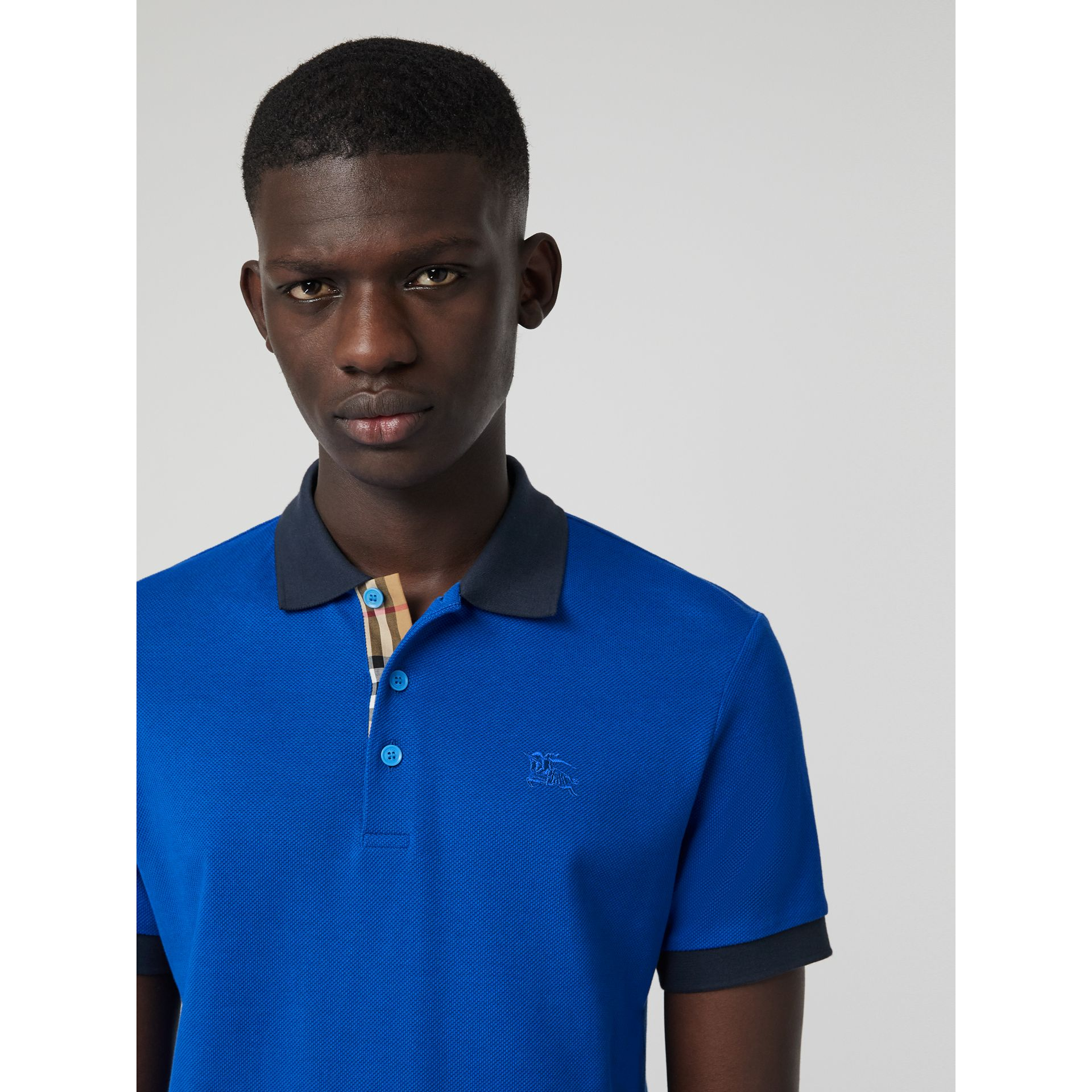 Contrast Collar Cotton Polo Shirt in Cerulean Blue - Men | Burberry Canada - gallery image 1