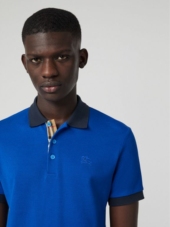 Polo in cotone con colletto a contrasto (Blu Ceruleo) - Uomo | Burberry - cell image 1