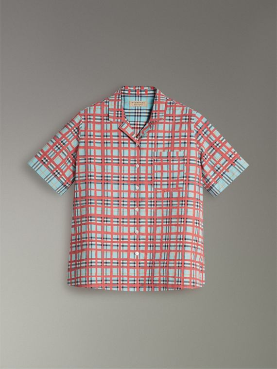 Short-sleeve Check Cotton Shirt in Bright Aqua - Women | Burberry United Kingdom - cell image 3