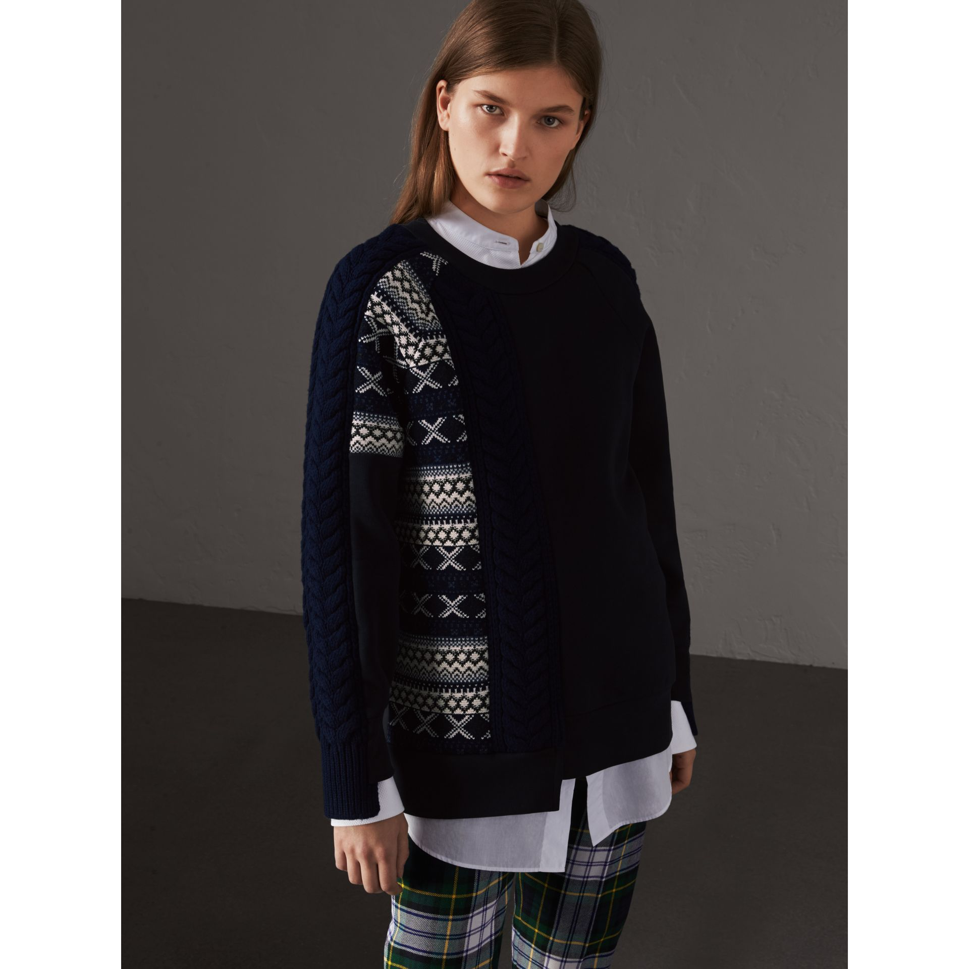 Cable and Fair Isle Knit Detail Cotton Sweatshirt in Navy - Women | Burberry - gallery image 4