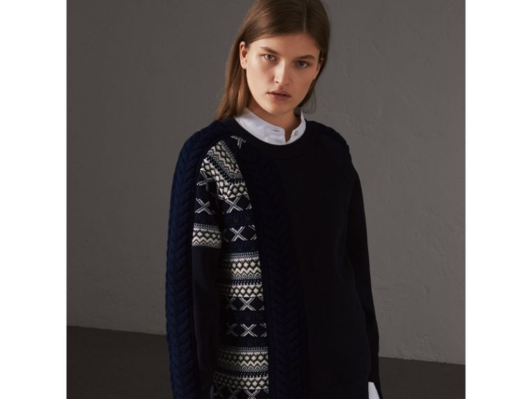 Cable and Fair Isle Knit Detail Cotton Sweatshirt in Navy - Women | Burberry - cell image 4