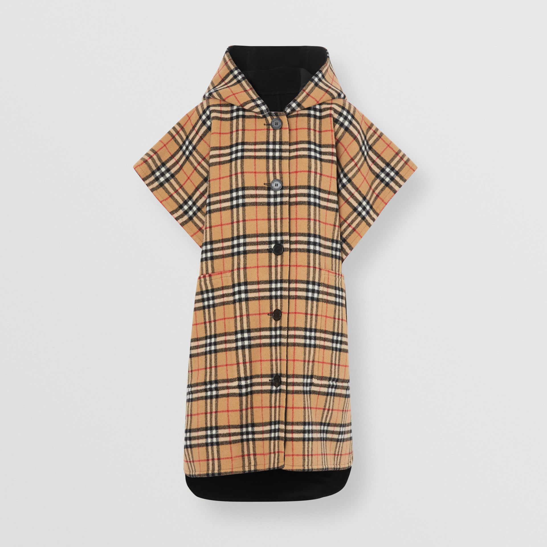 Reversible Vintage Check Hooded Poncho in Black - Women | Burberry Hong Kong - gallery image 3