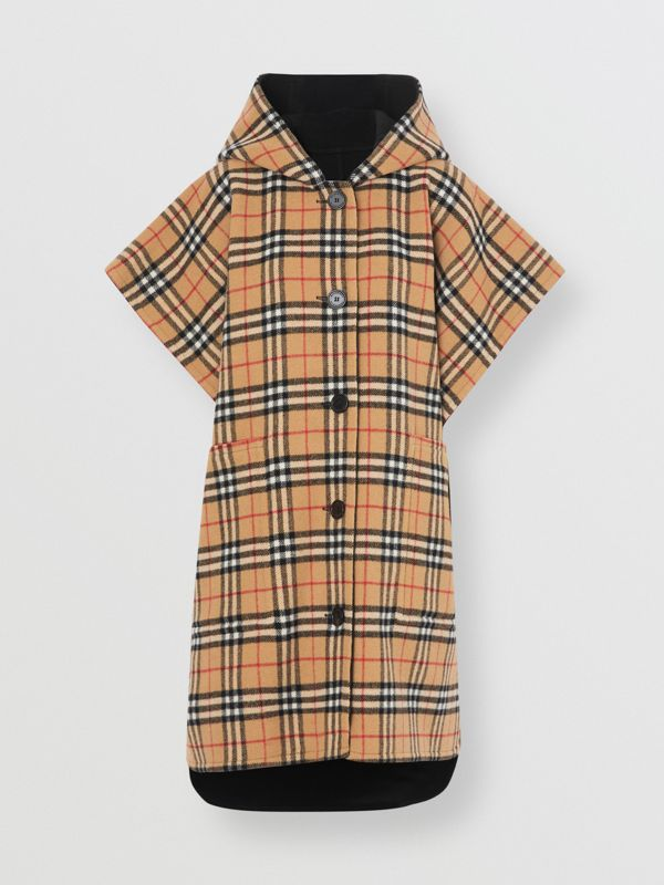 Reversible Vintage Check Hooded Poncho in Black - Women | Burberry - cell image 3