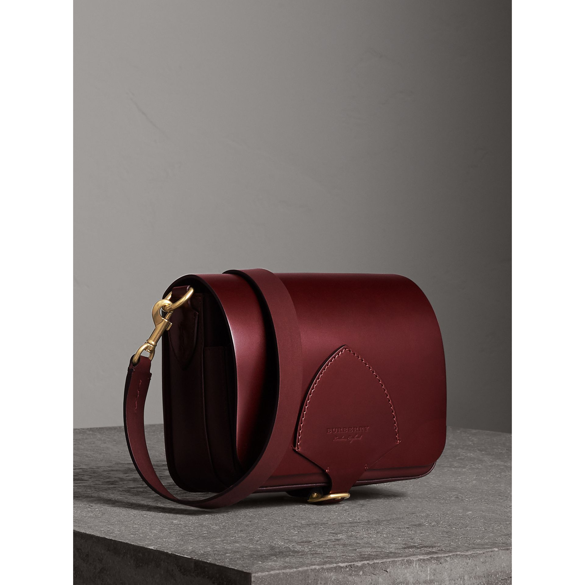The Square Satchel in Bridle Leather in Deep Claret - Women | Burberry United Kingdom - gallery image 7