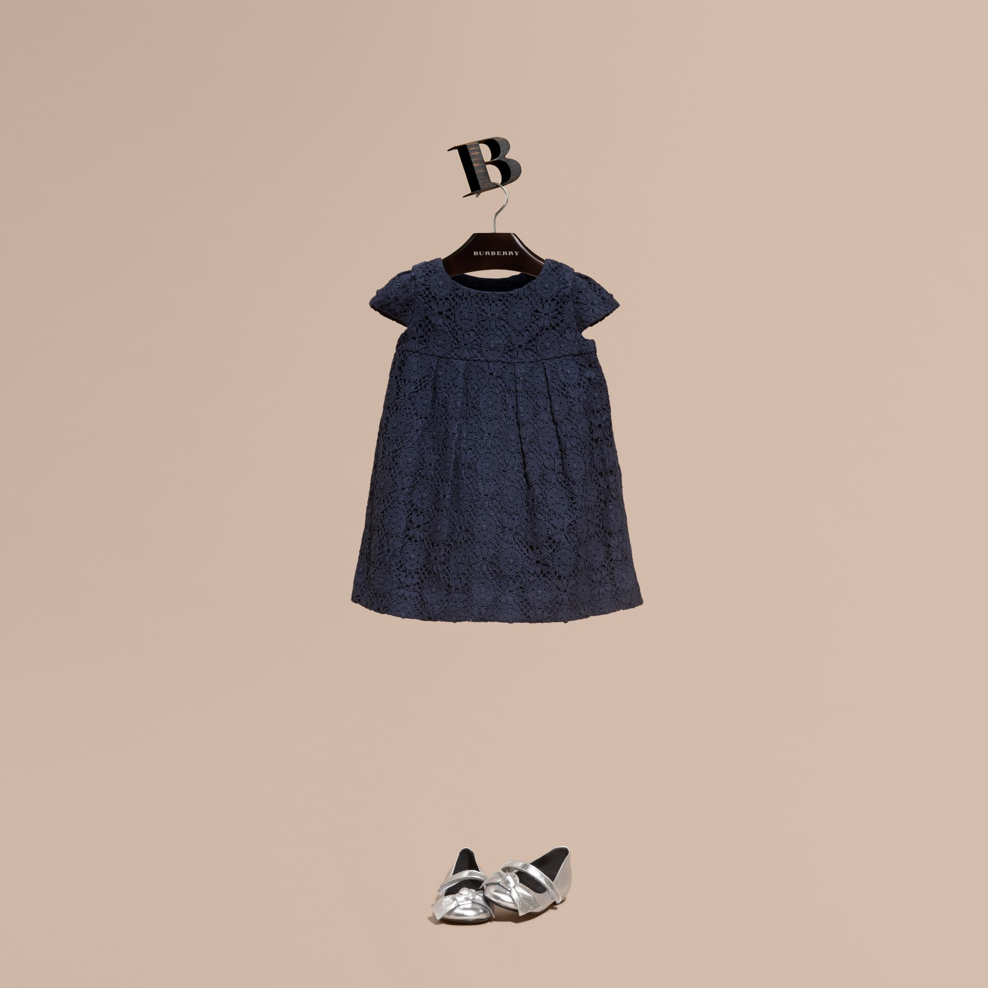 Navy English Lace A-line Dress Navy - gallery image 1