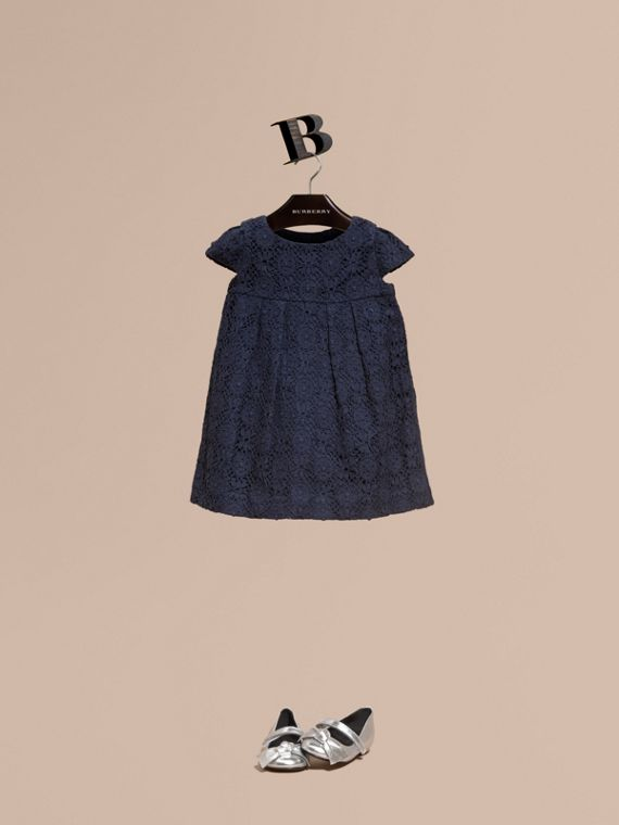 English Lace A-line Dress Navy