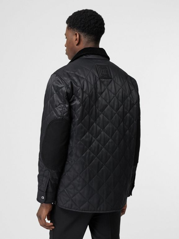 Diamond Quilted Thermoregulated Overshirt in Black - Men | Burberry - cell image 1