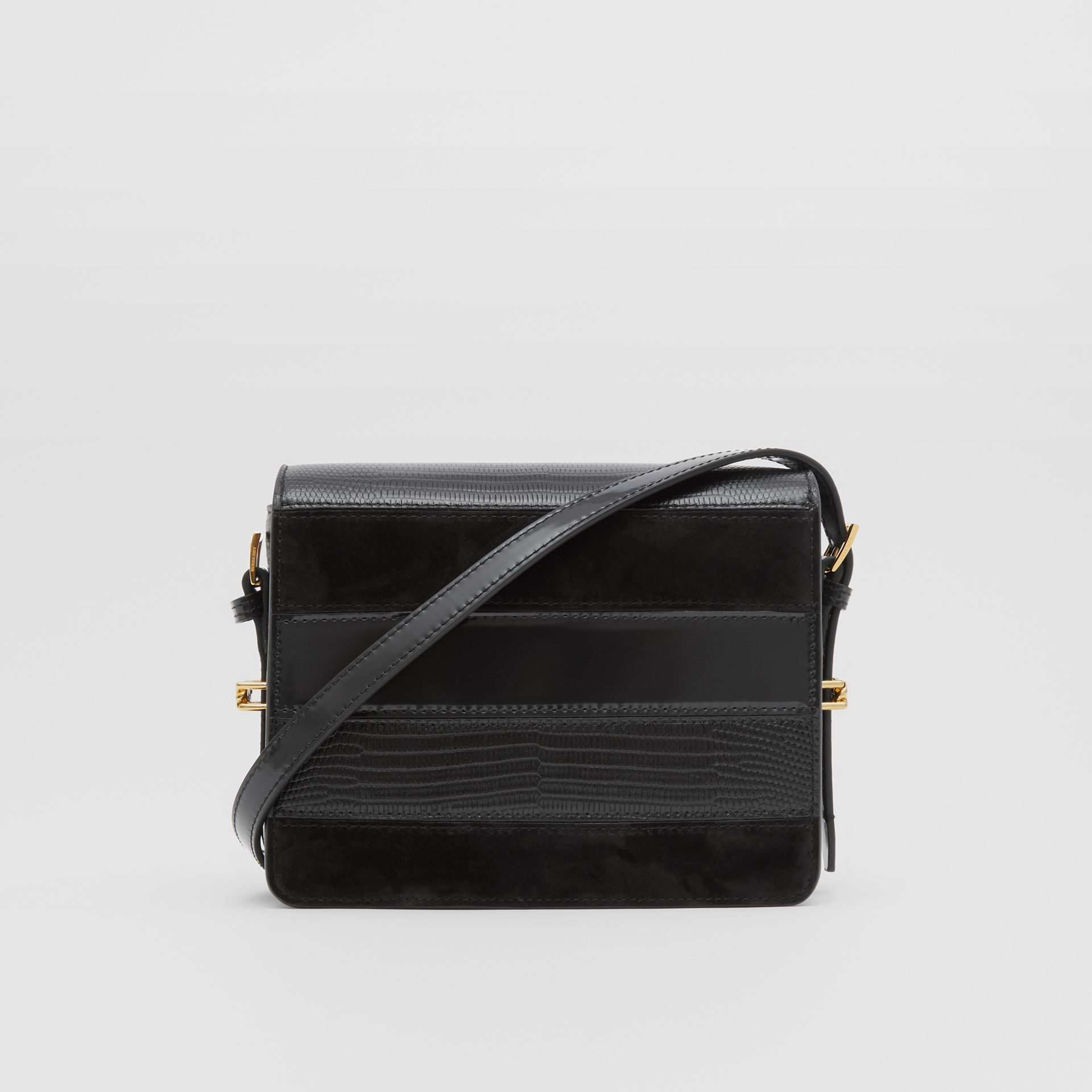 Small Panelled Deerskin and Suede Grace Bag in Black - Women | Burberry - gallery image 5