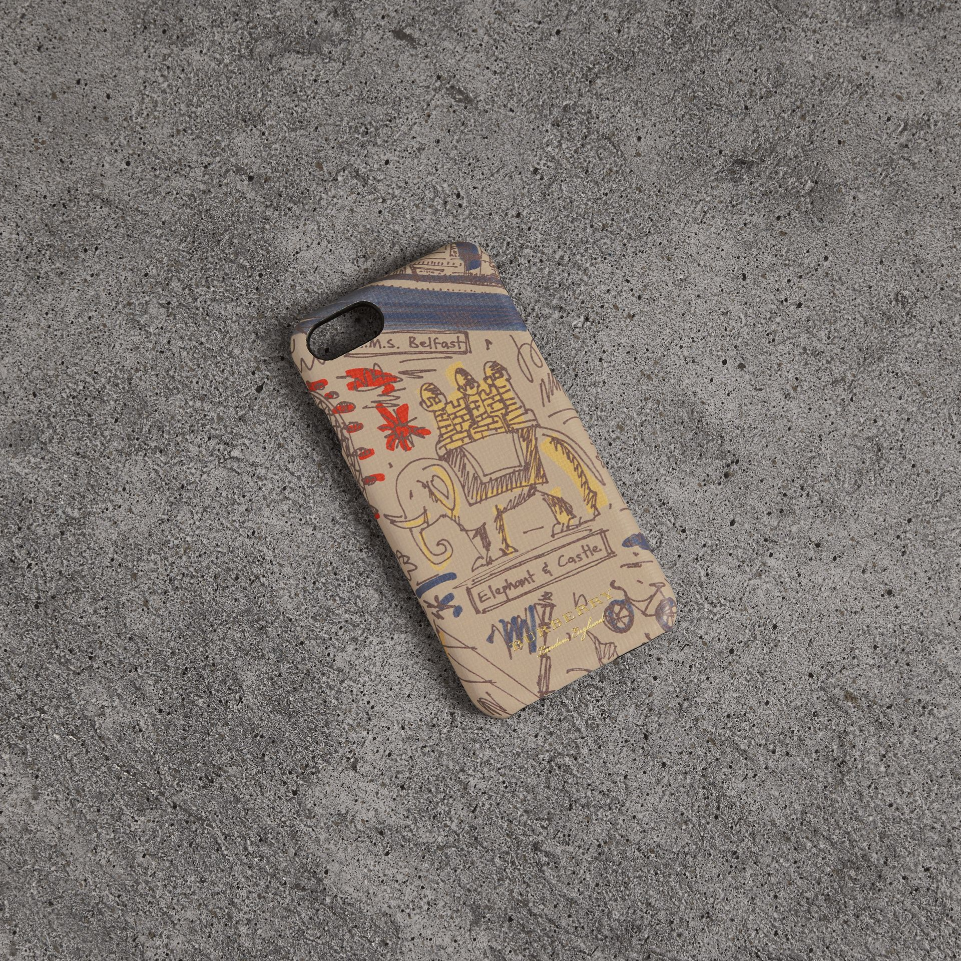 London Print Leather iPhone 8 Case in Multicolour | Burberry United Kingdom - gallery image 0