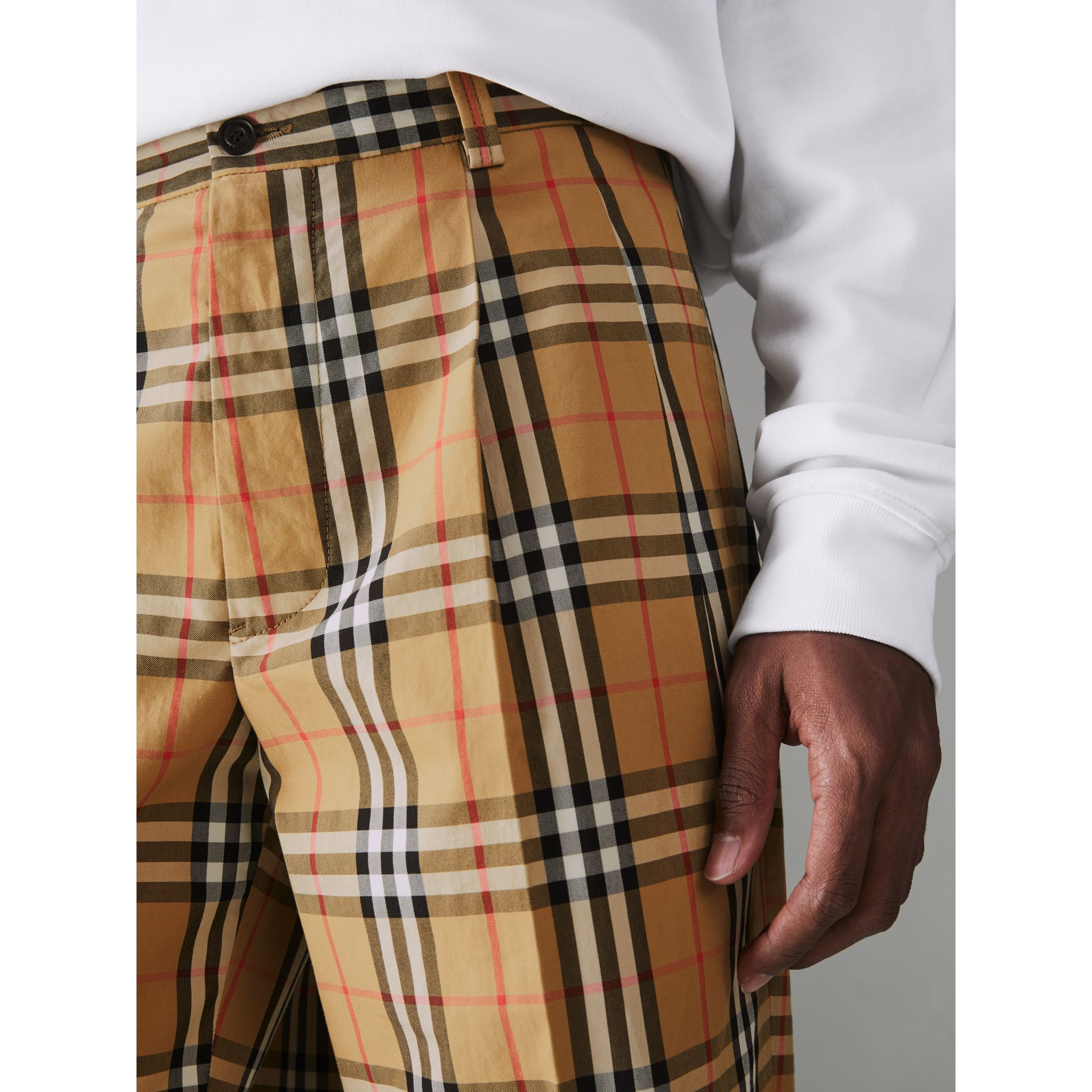 Vintage Check Cotton Trousers in Antique Yellow - Men | Burberry - gallery image 1