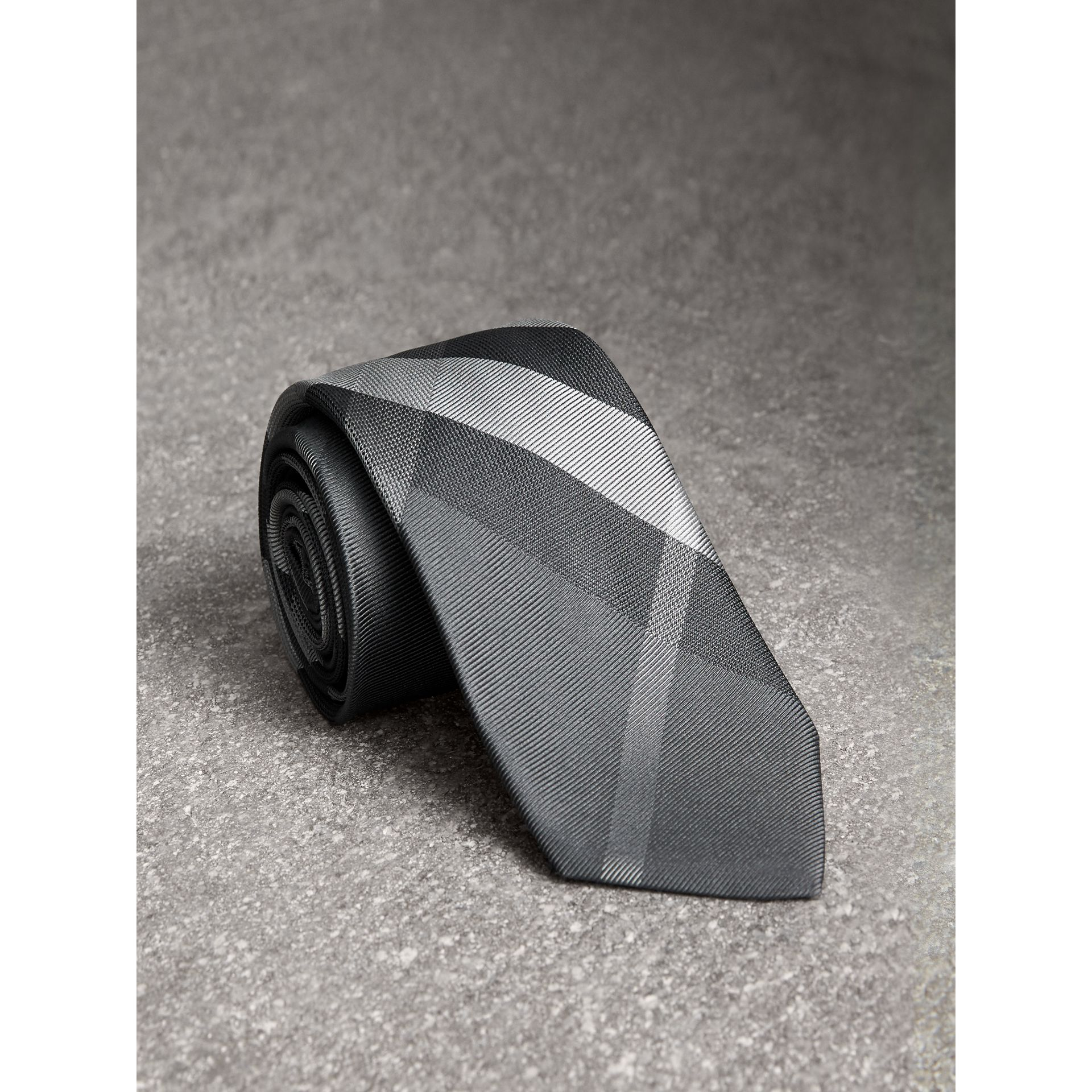 Modern Cut Patterned Silk Tie in Mid Grey - Men | Burberry Canada - gallery image 1