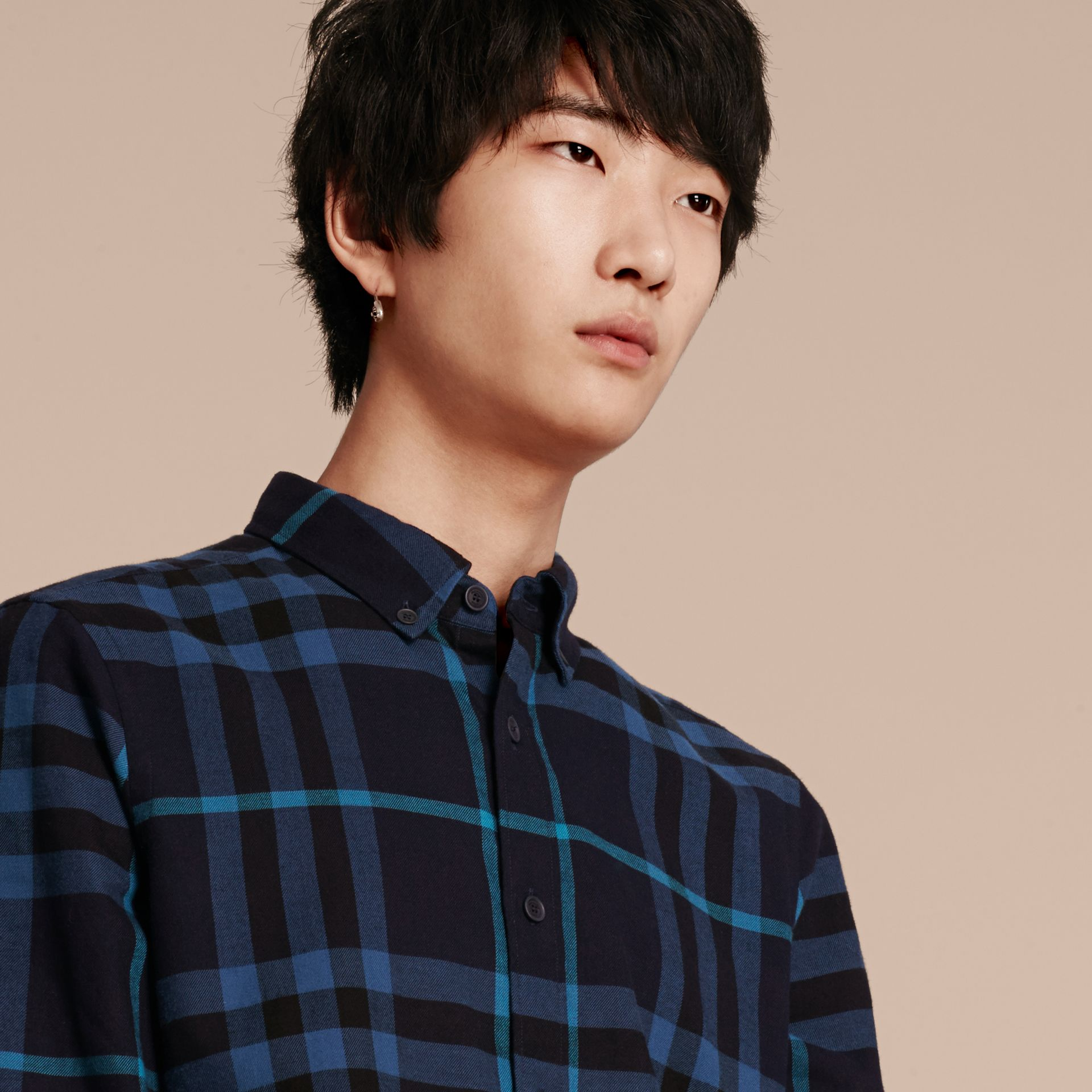 Bright navy Check Cotton Flannel Shirt Bright Navy - gallery image 5