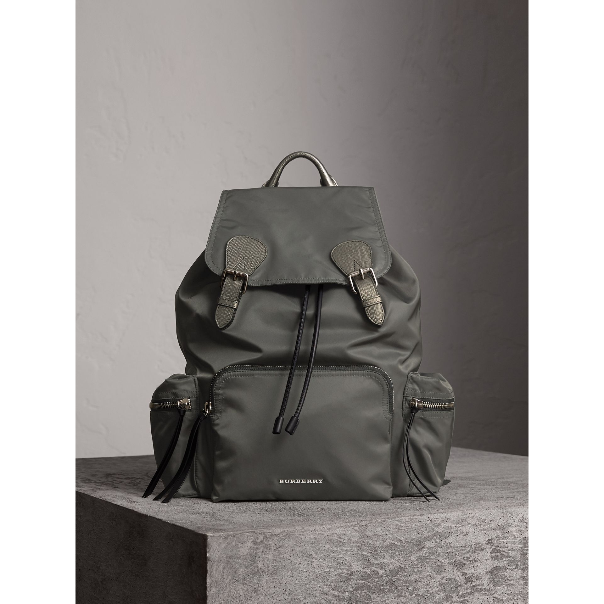 The Medium Rucksack in Technical Nylon and Leather in Dark Grey/dark Grey - Women | Burberry Canada - gallery image 7
